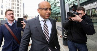Sanjeev Gupta, executive chairman of Liberty House Group, center, arrives at the offices of the Department for Business, Skill and Innovation in London, U.K., on Tuesday, April 5, 2016. Gupta plans to meet U.K. Business Secretary Sajid Javid to discuss potential purchase of Tata Steel Ltd.'s British steel operation, the BBC reported without attribution. Photographer: Chris Ratcliffe/Bloomberg *** Local Caption *** Sanjeev Gupta