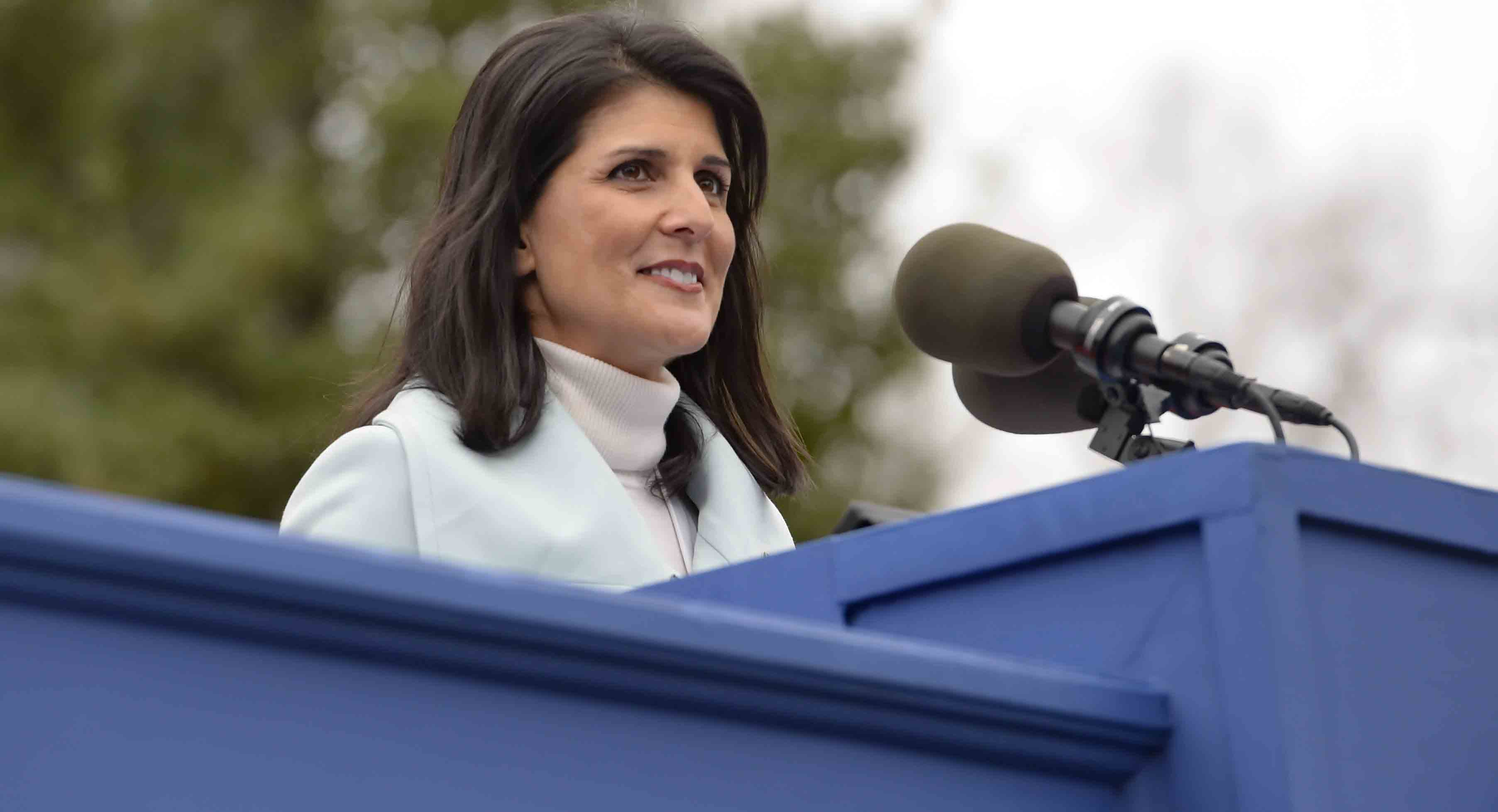 South Carolina Gov. Nikki Haley speaks to the crowd after being sworn in for her second term as governor, Wednesday, Jan. 14, 2015, at the state Capitol in Columbia, S.C.  (AP Photo/Richard Shiro)