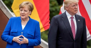 "German Chancellor Angela Merkel stands next to US President Donald Trump during the ""family portrait"" at the G7 summit in Taormina in Sicily, Italy, 26 May 2017. The heads of the G7 states meet in Sicily from 26 May until 27 May 2017 to negotiate and talk about global topics. Photo by: Michael Kappeler/picture-alliance/dpa/AP Images"