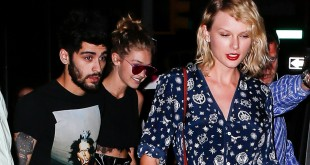 New York, NY - Singer, Taylor Swift, kicks it with model friend, Gigi Hadid, and boyfriend Zayn Malik in NYC.  The famous trio were seen leaving Gigi's New York apartment to head to Taylor Swift's home in NYC.      September 12, 2016, Image: 299664545, License: Rights-managed, Restrictions: NO Brazil, Model Release: no, Credit line: Profimedia, AKM-GSI