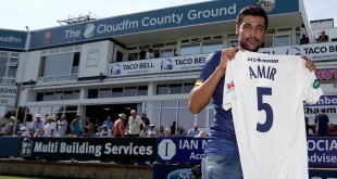CHELMSFORD, ENGLAND - JUNE 19 Essex Unveil New Signing Mohammad Amir during the Essex v Warwickshire - Specsavers County Championship: Division One cricket match at the Cloudfm County Ground on June 19, 2017 in Chelmsford, England. (Photo by Nick Wood/Getty Images)