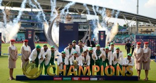 LONDON, ENGLAND - JUNE 18:  Pakistan lift the ICC Champions Trophy after beating India during ICC Champions Trophy Final between India and Pakistan at The Kia Oval on June 18, 2017 in London, England.  (Photo by Gareth Copley/Getty Images)