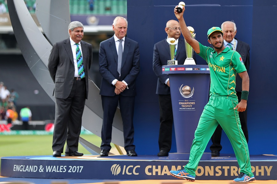 Pakistan's Hasan Ali holds up his award for the Golden Ball winner at the presentation after the ICC Champions Trophy final cricket match between India and Pakistan at The Oval in London on June 18, 2017. Pakistan thrashed title-holders India by 180 runs to win the Champions Trophy final at The Oval on Sunday. / AFP PHOTO / Adrian DENNIS / RESTRICTED TO EDITORIAL USE (Photo credit should read ADRIAN DENNIS/AFP/Getty Images)