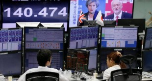 Employees of a foreign exchange trading company work near monitors showing TV news on Britain's general election and the Japanese yen's exchange rate against the British pound in Tokyo, Japan June 9, 2017.   REUTERS/Toru Hanai