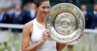 Tennis - Wimbledon - London, Britain - July 15, 2017   Spains Garbine Muguruza poses with the trophy as she celebrates winning the final against Venus Williams of the U.S.     REUTERS/Matthew Childs