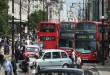 LONDON, ENGLAND - JULY 09:  Buses and taxis fill Oxford Street on July 9, 2014 in London, England. Researchers from King's College London have found that concentrations of nitrogen dioxide in Oxford Street are the worst on earth.  (Photo by Peter Macdiarmid/Getty Images)