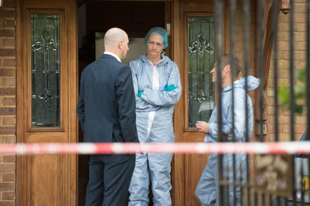Police Forensics at the of the home where teenage girl's body was found stuffed in a fridge after she was allegedly stabbed to death by her uncle in a suspected honour killing at a £1.5million home in West London. 21st July 2017 See National News story NNMURDER; A step dad kidnapped and raped two girls before chopping one up and putting her in the freezer, a horrified neighbour has claimed. The brutal murder happened on Wednesday afternoon two girls aged 19 and 21 are said to have visited a detached property with at least one man on well-heeled Coombe Lane West, Kingston. The house, which is owned by the property next door, was rented out at the weekend. The group are believed to have entered the house between 1.30pm and 3pm before a next door neighbour called concerned for the girls' safety.