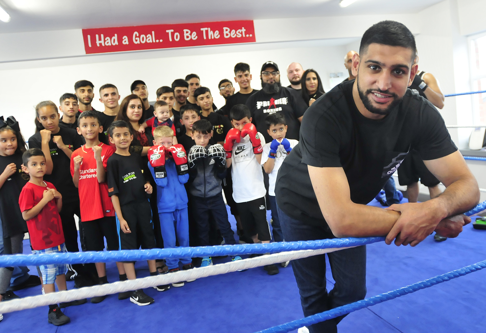 Amir Khan and members at Premier Community Boxing Centre during an open day