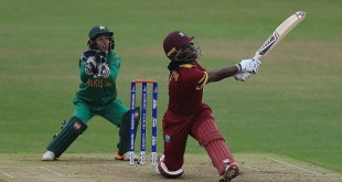 LEICESTER, ENGLAND - JULY 11:  Deandra Dottin of the West Indies hits a six during the ICC Women's World Cup 2017 match between West Indies and Pakistan at Grace Road on July 11, 2017 in Leicester, England.  (Photo by Matthew Lewis-IDI/IDI via Getty Images)