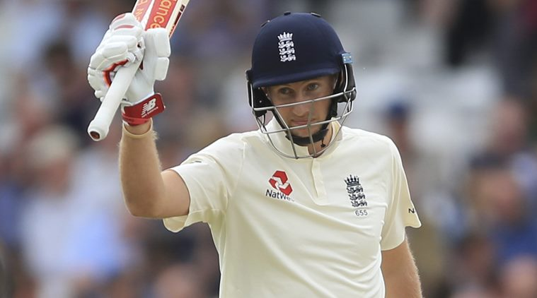 England's Joe Root reaches his half century against West Indies during the second cricket Test match at Headingley cricket ground in Leeds, England, Friday Aug. 25, 2017. (Nigel French/PA via AP)