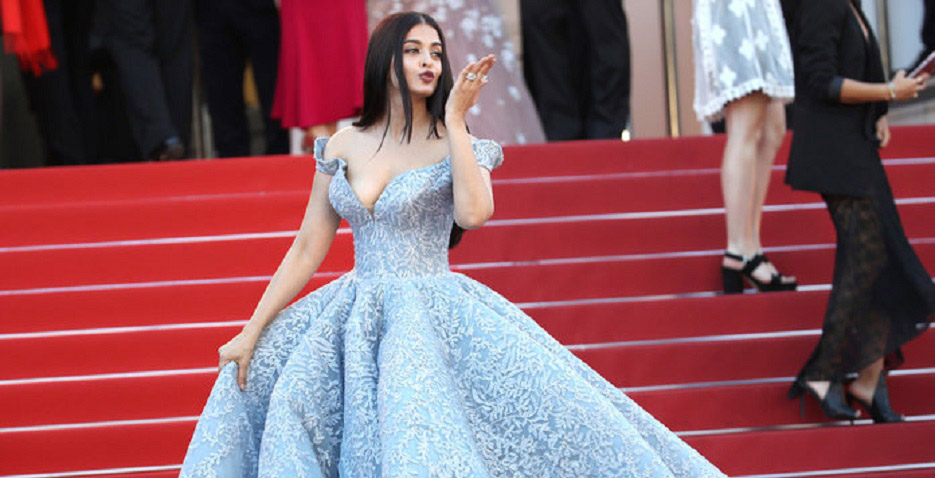 """CANNES, FRANCE - MAY 19: Aishwarya Rai Bachchan attends the """"Okja"""" screening during the 70th annual Cannes Film Festival at Palais des Festivals on May 19, 2017 in Cannes, France. (Photo by Mike Marsland/WireImage for Netflix)"""