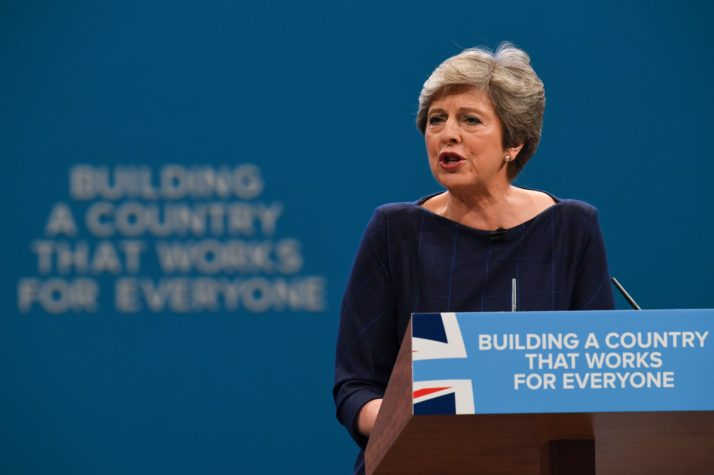 Britain's Prime Minister Theresa May delivers her speech on the final day of the Conservative Party annual conference at the Manchester Central Convention Centre in Manchester, northwest England, on October 4, 2017. / AFP PHOTO / Paul ELLIS (Photo credit should read PAUL ELLIS/AFP/Getty Images)