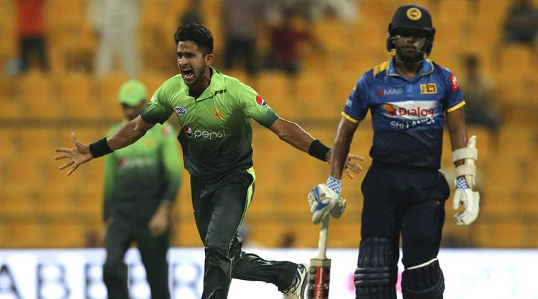 Pakistan's Hassan Ali celebrates the dismissal of Sri Lanka's Kusal Mendis during their second ODI cricket match in Abu Dhabi, United Arab Emirates, Monday, Oct. 16, 2017. (AP Photo/Kamran Jebreili)