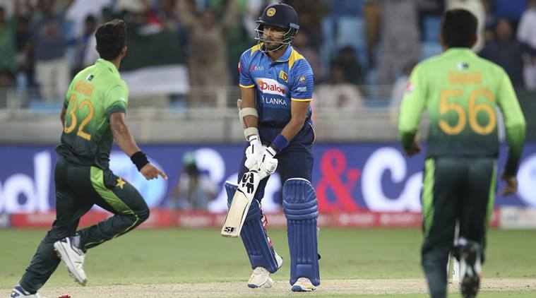 Sri Lanka's Milinda Siriwardana lost the wicket bowled by Pakistan's Hassan Ali during their first ODI cricket match in Dubai, United Arab Emirates, Friday, Oct. 13, 2017. (AP Photo/Kamran Jebreili)