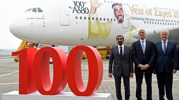 Emirates hits milestone with delivery of 100th Airbus A380