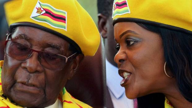 Robert Mugabe with his wife