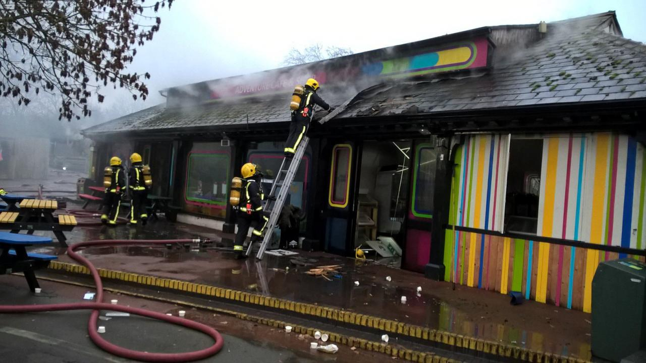 Firefighters are seen tackling a blaze at London Zoo following a fire which broke out at a shop and cafe at the attraction, in this photograph received from London Fire Brigade, in central London, Britain December 23, 2017. London Fire Brigade/Handout via REUTERS