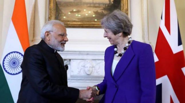 British PM Theresa May welcomes PM Modi