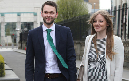 Daniel McArthur and his wife Amy arrive at court