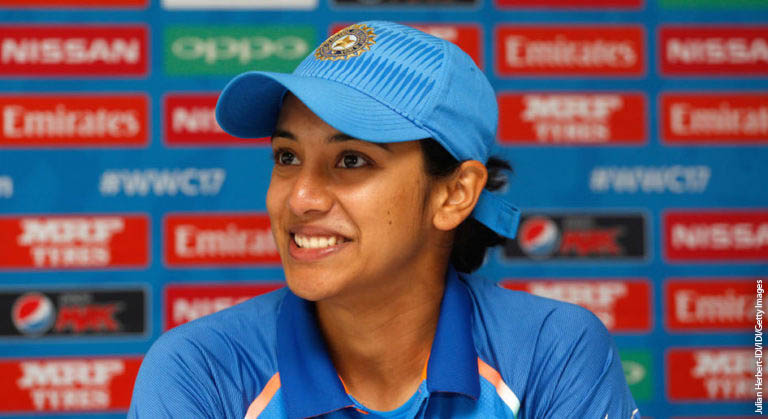 TAUNTON, ENGLAND - JUNE 29: Smriti Mandhana of India speaks at a press conference after The ICC Women's World Cup 2017 match betwen The West Indies and India at The County Ground on June 29, 2017 in Taunton, England. (Photo by Julian Herbert-IDI/IDI via Getty Images)